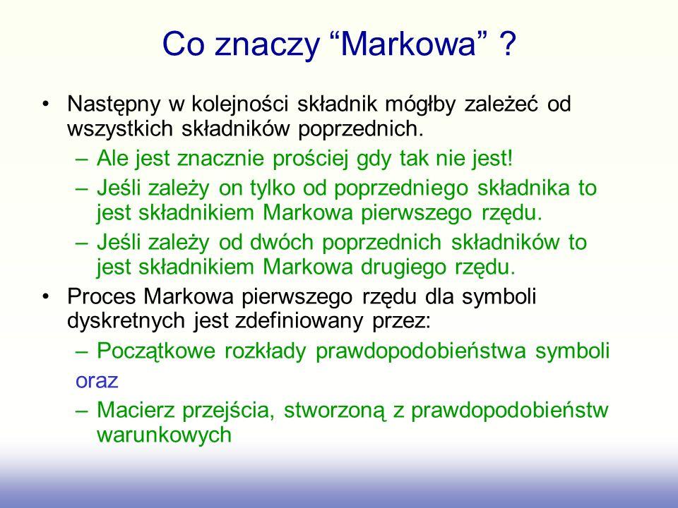 Co znaczy Markowa Następny w kolejności składnik mógłby zależeć od wszystkich składników poprzednich.
