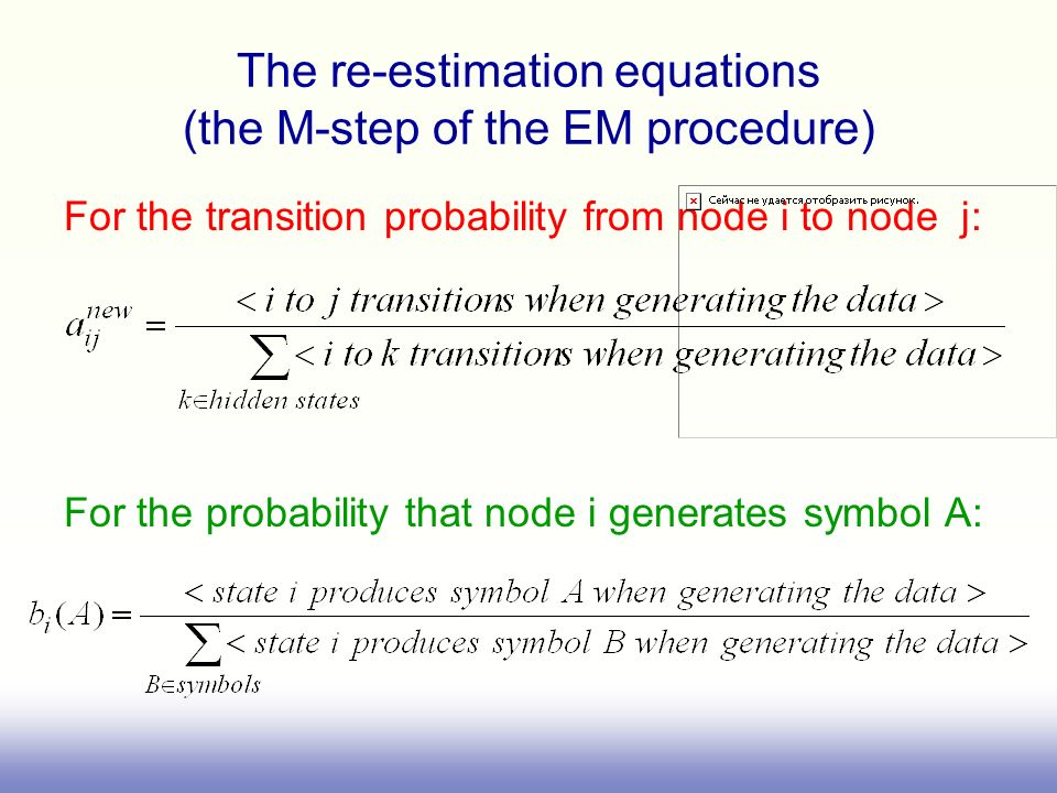 The re-estimation equations (the M-step of the EM procedure)