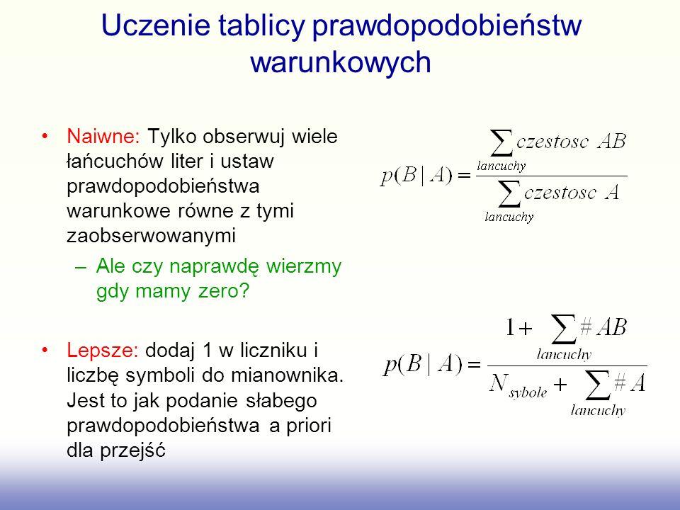 Uczenie tablicy prawdopodobieństw warunkowych