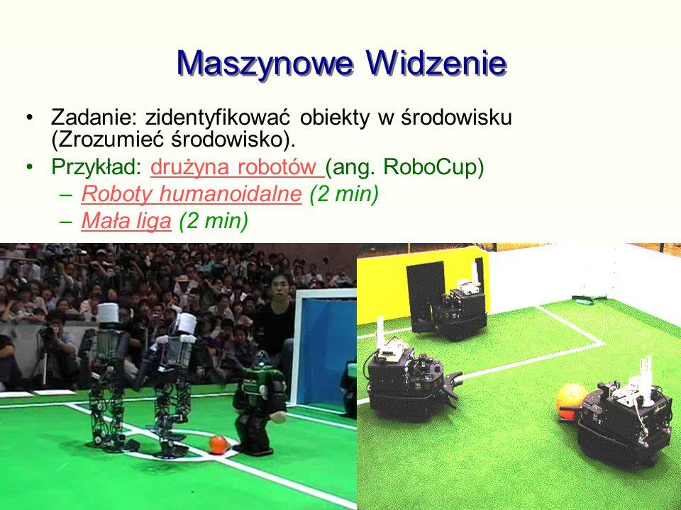 Maszynowe Widzenie Zadanie: zidentyfikować obiekty w środowisku (Zrozumieć środowisko). Przykład: drużyna robotów (ang. RoboCup)