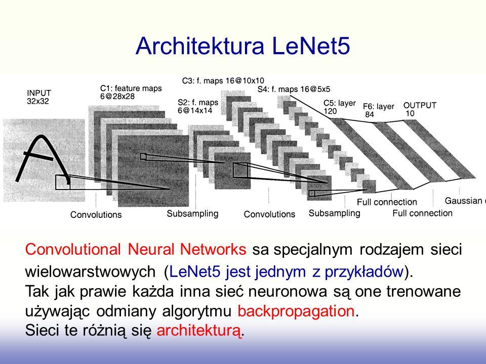 Architektura LeNet5 Convolutional Neural Networks sa specjalnym rodzajem sieci. wielowarstwowych (LeNet5 jest jednym z przykładów).