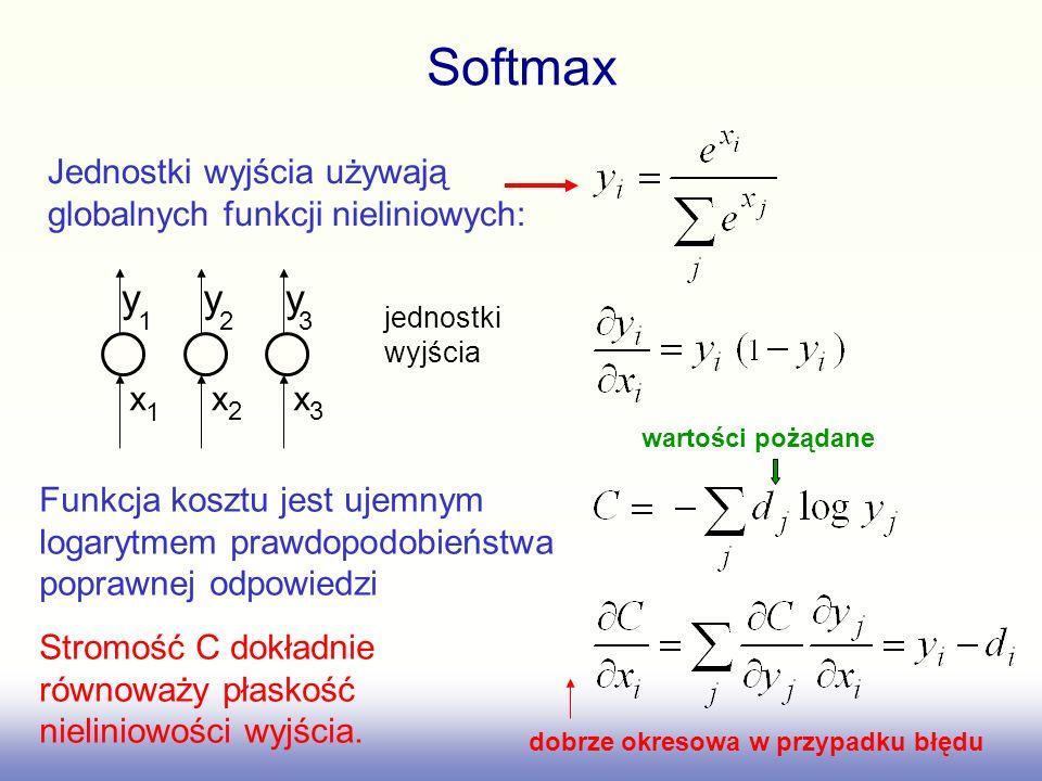 Softmax wartości pożądane. Jednostki wyjścia używają globalnych funkcji nieliniowych: y. y. y. 1.