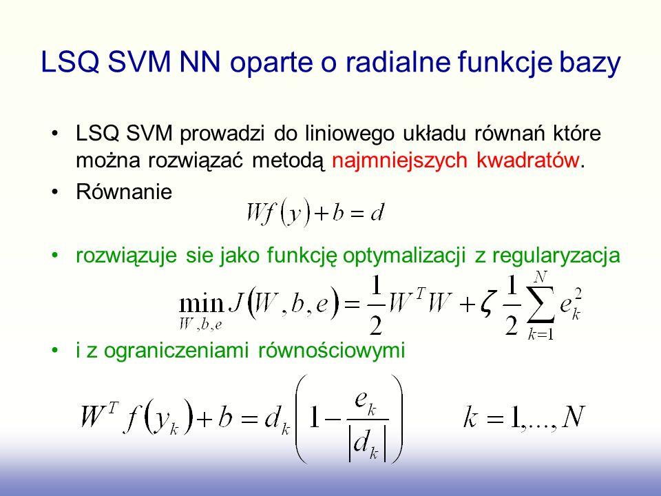 LSQ SVM NN oparte o radialne funkcje bazy