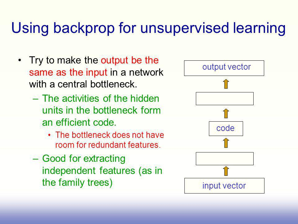 Using backprop for unsupervised learning
