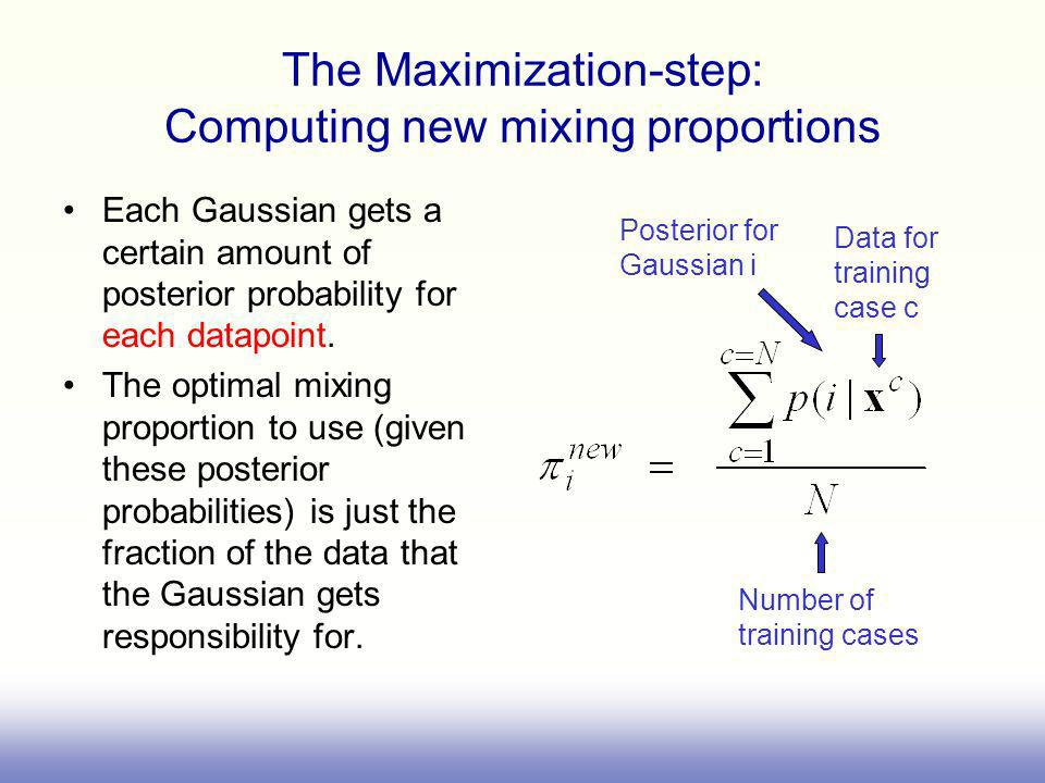 The Maximization-step: Computing new mixing proportions