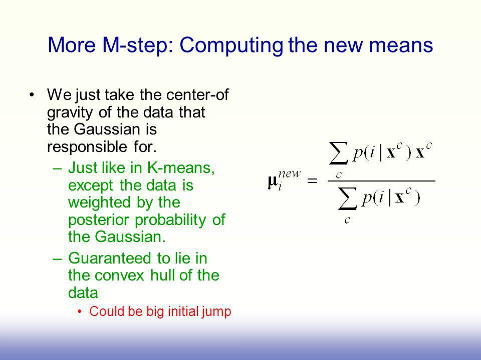 More M-step: Computing the new means