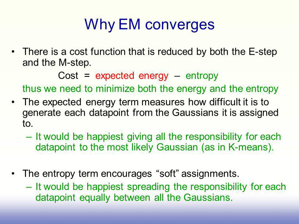 Why EM converges There is a cost function that is reduced by both the E-step and the M-step. Cost = expected energy – entropy.