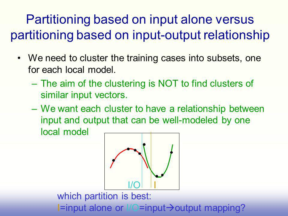 Partitioning based on input alone versus partitioning based on input-output relationship
