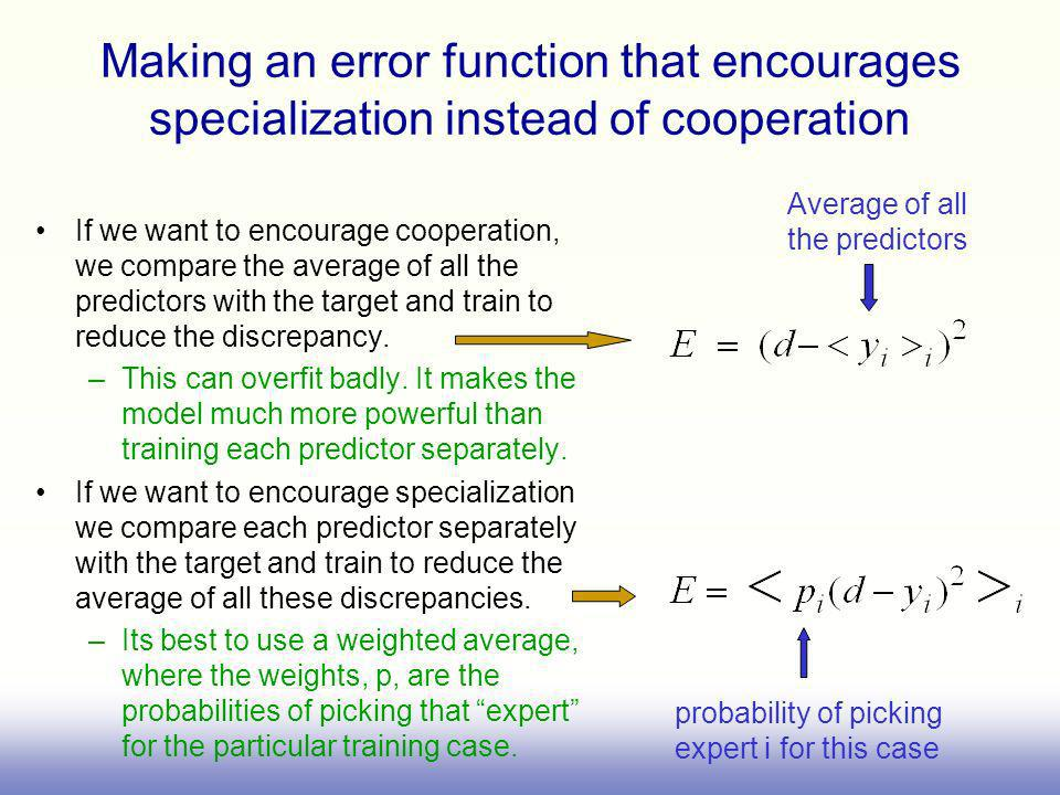 Making an error function that encourages specialization instead of cooperation