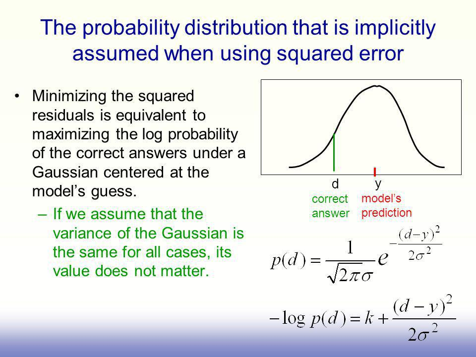 The probability distribution that is implicitly assumed when using squared error