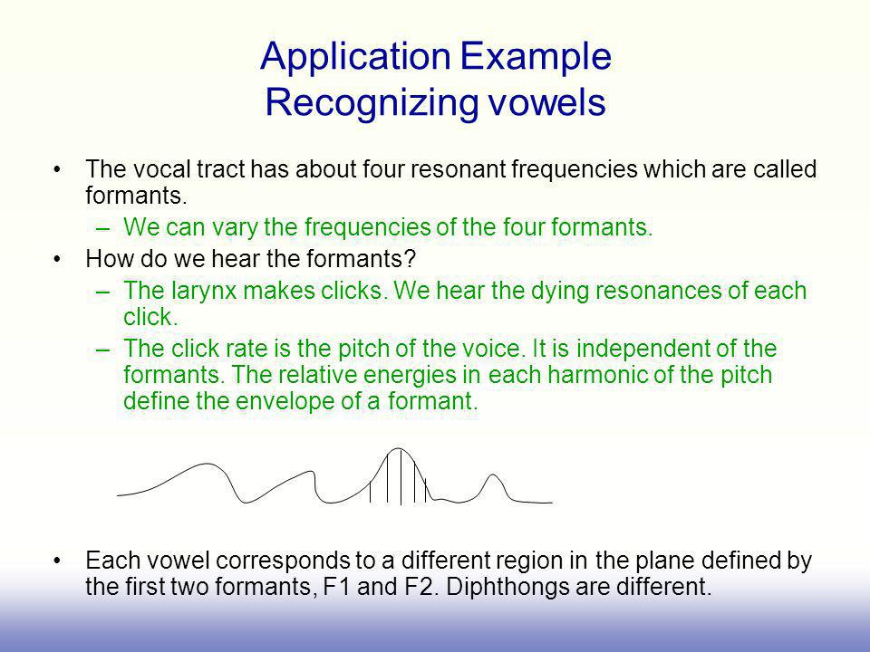 Application Example Recognizing vowels