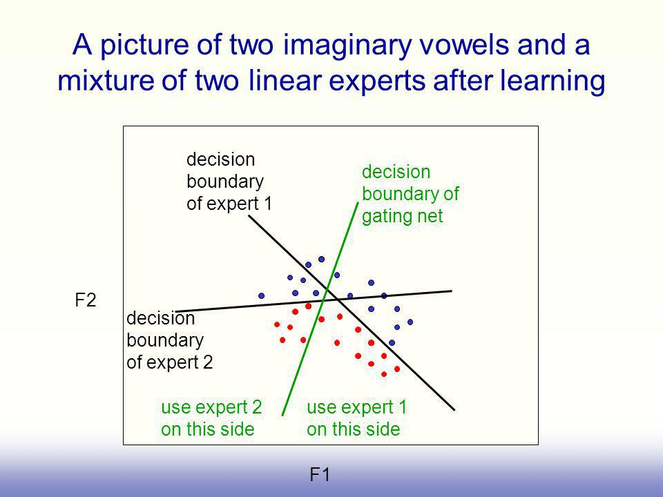 A picture of two imaginary vowels and a mixture of two linear experts after learning