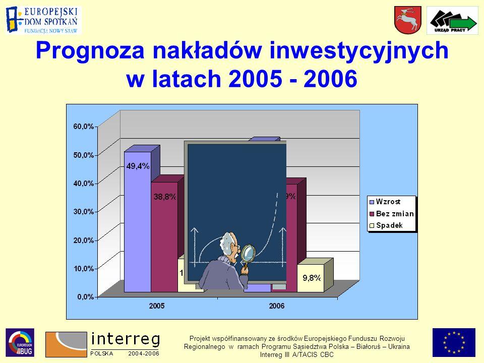 Prognoza nakładów inwestycyjnych w latach 2005 - 2006
