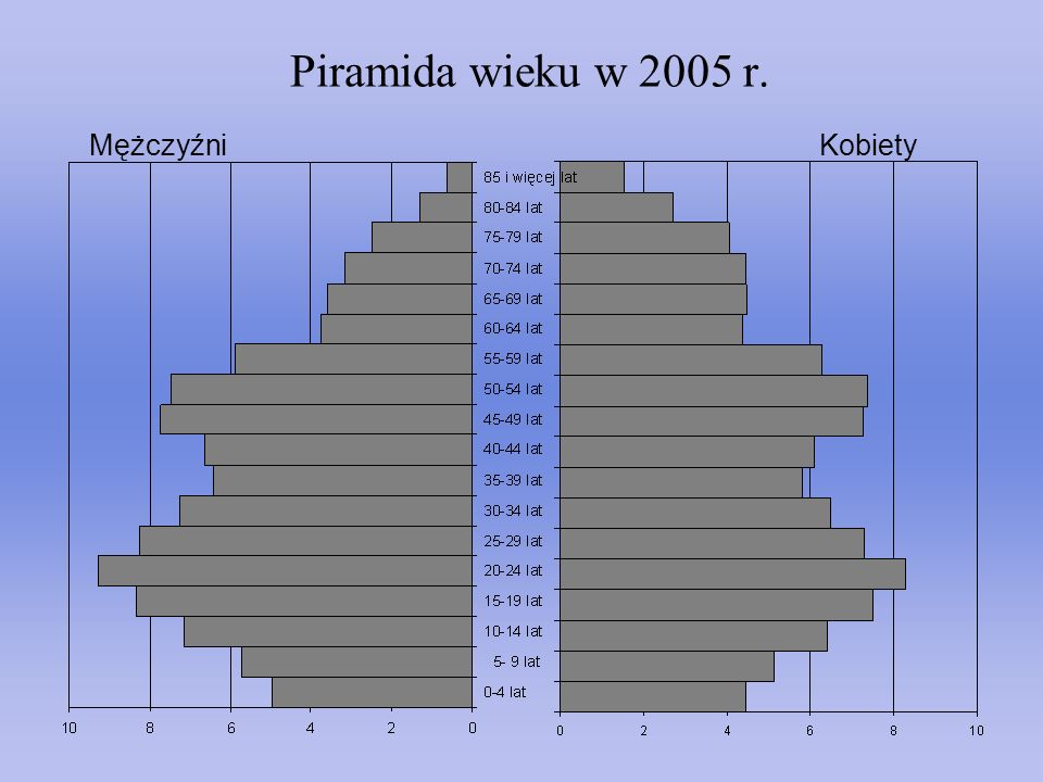 Piramida wieku w 2005 r. Mężczyźni Kobiety