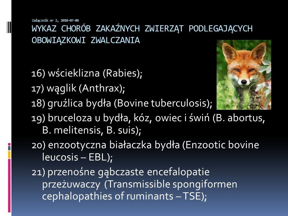 16) wścieklizna (Rabies); 17) wąglik (Anthrax);