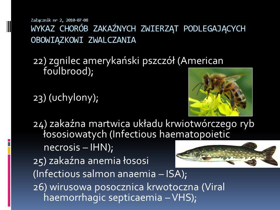 22) zgnilec amerykański pszczół (American foulbrood);