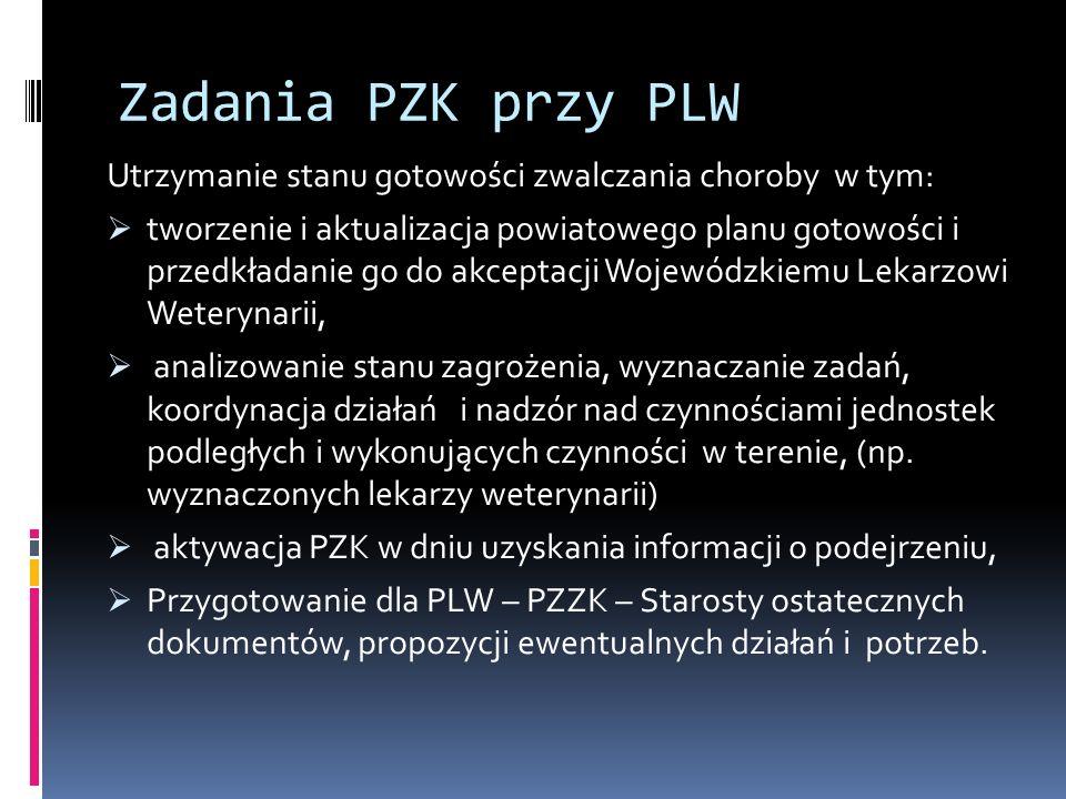 Zadania PZK przy PLW Utrzymanie stanu gotowości zwalczania choroby w tym: