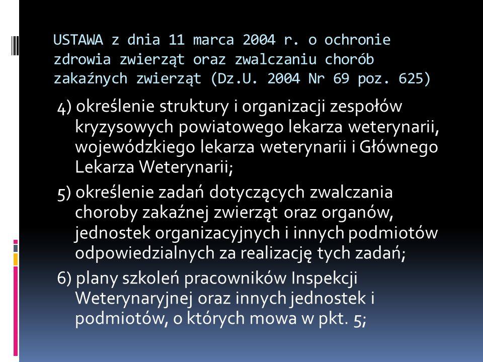 USTAWA z dnia 11 marca 2004 r. o ochronie zdrowia zwierząt oraz zwalczaniu chorób zakaźnych zwierząt (Dz.U. 2004 Nr 69 poz. 625)