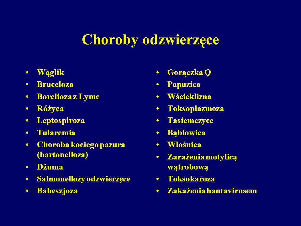 Choroby odzwierzęce Wąglik Bruceloza Borelioza z Lyme Różyca
