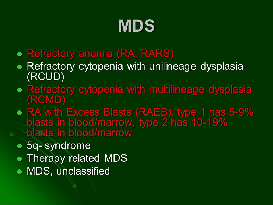 MDS Refractory anemia (RA, RARS)