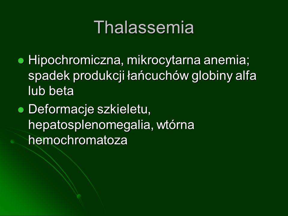 ThalassemiaHipochromiczna, mikrocytarna anemia; spadek produkcji łańcuchów globiny alfa lub beta.