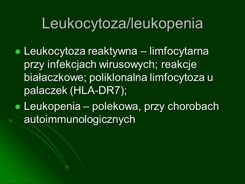 Leukocytoza/leukopenia