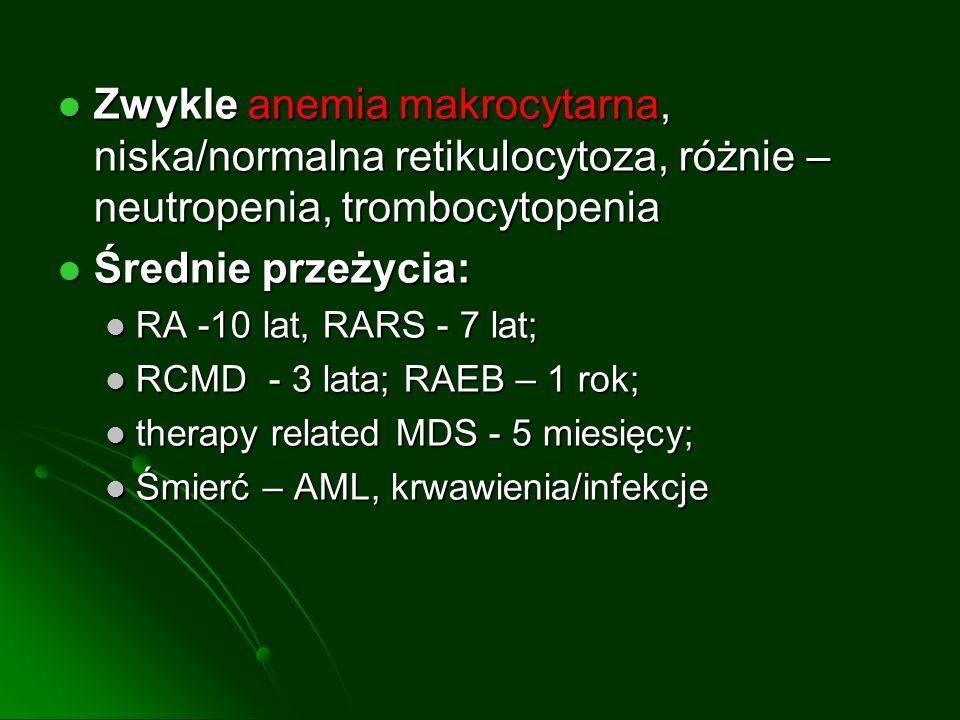 Zwykle anemia makrocytarna, niska/normalna retikulocytoza, różnie – neutropenia, trombocytopenia