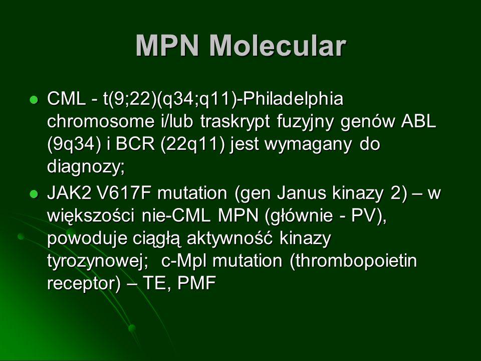 MPN MolecularCML - t(9;22)(q34;q11)-Philadelphia chromosome i/lub traskrypt fuzyjny genów ABL (9q34) i BCR (22q11) jest wymagany do diagnozy;
