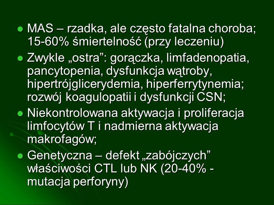 MAS – rzadka, ale często fatalna choroba; 15-60% śmiertelność (przy leczeniu)