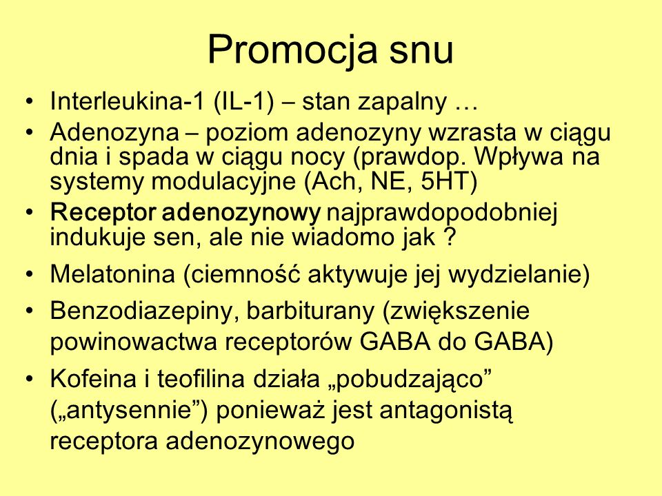 Promocja snu Interleukina-1 (IL-1) – stan zapalny …