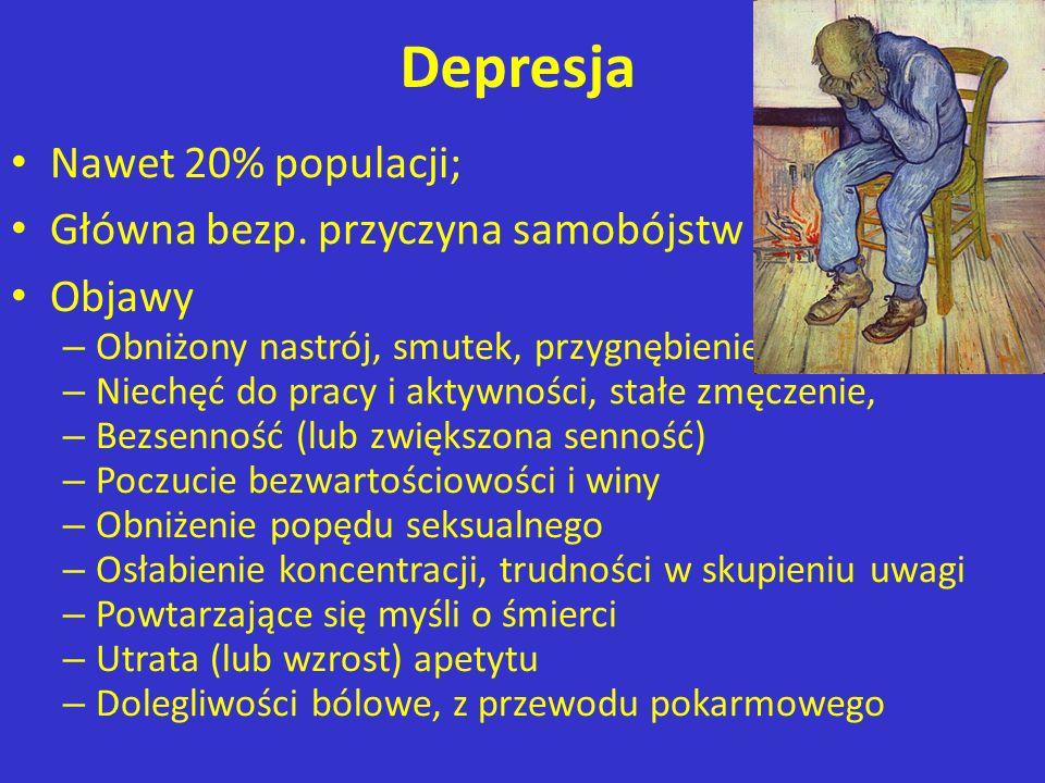 Depresja Nawet 20% populacji; Główna bezp. przyczyna samobójstw Objawy