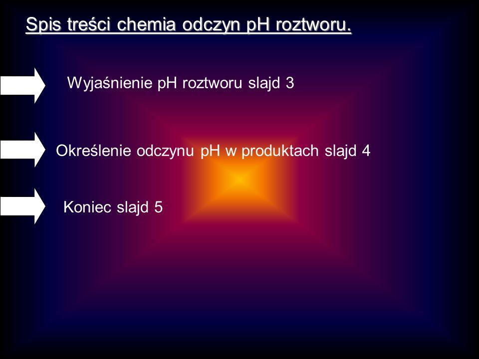 Spis treści chemia odczyn pH roztworu.