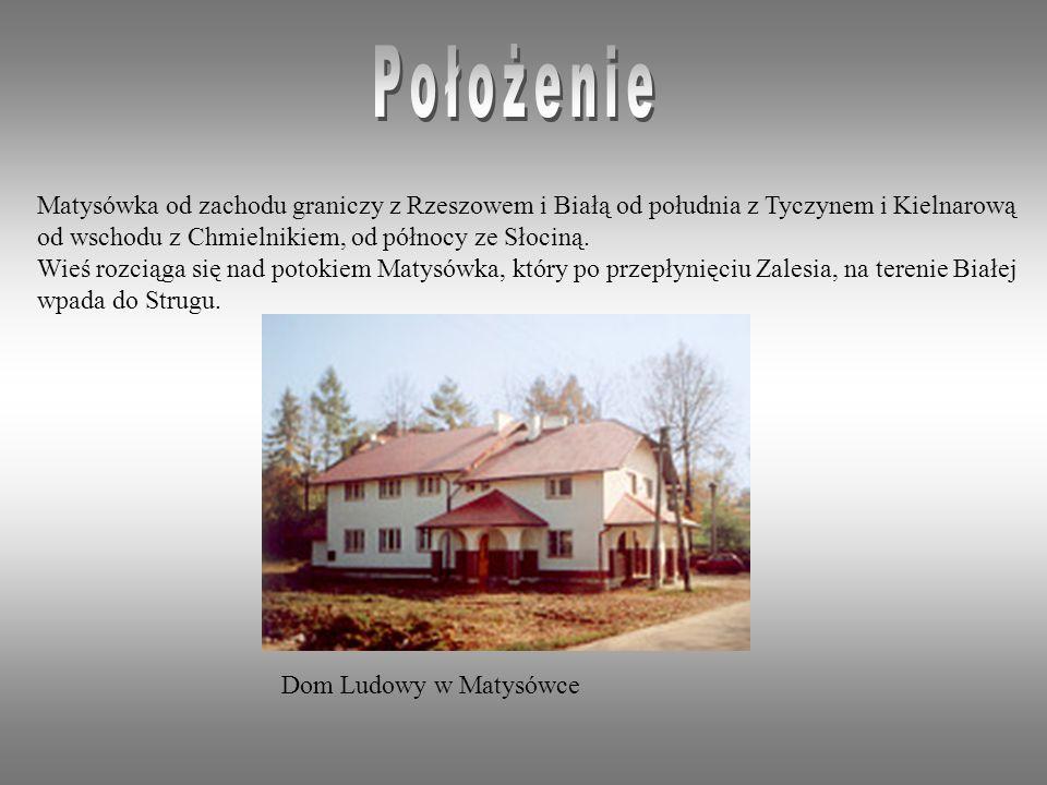 Położenie Matysówka od zachodu graniczy z Rzeszowem i Białą od południa z Tyczynem i Kielnarową. od wschodu z Chmielnikiem, od północy ze Słociną.