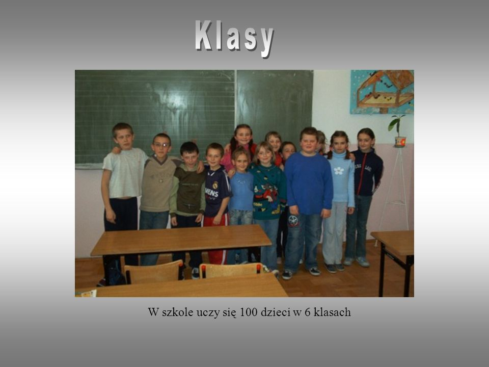 Klasy W szkole uczy się 100 dzieci w 6 klasach