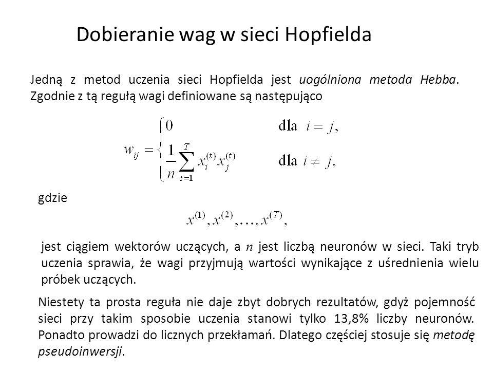 Dobieranie wag w sieci Hopfielda