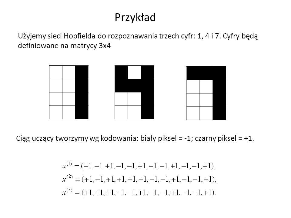 Przykład Użyjemy sieci Hopfielda do rozpoznawania trzech cyfr: 1, 4 i 7. Cyfry będą definiowane na matrycy 3x4.