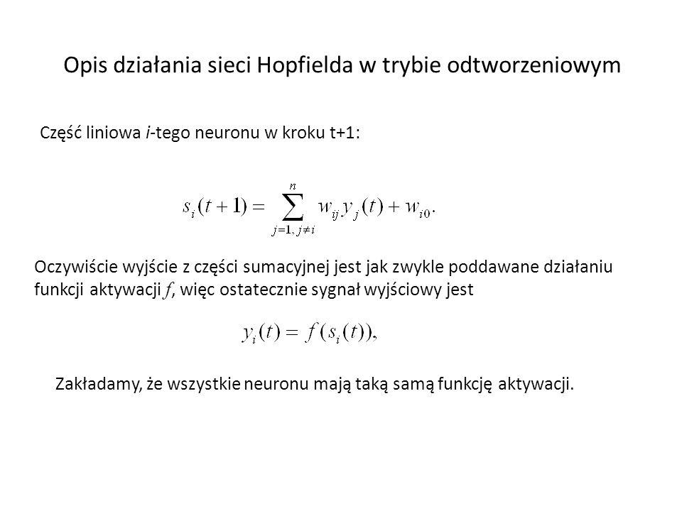 Opis działania sieci Hopfielda w trybie odtworzeniowym