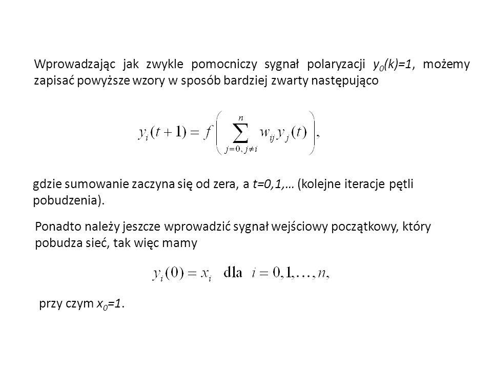Wprowadzając jak zwykle pomocniczy sygnał polaryzacji y0(k)=1, możemy zapisać powyższe wzory w sposób bardziej zwarty następująco