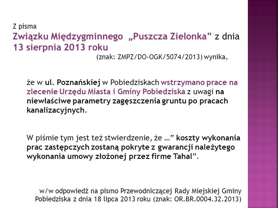 """Związku Międzygminnego """"Puszcza Zielonka z dnia 13 sierpnia 2013 roku"""