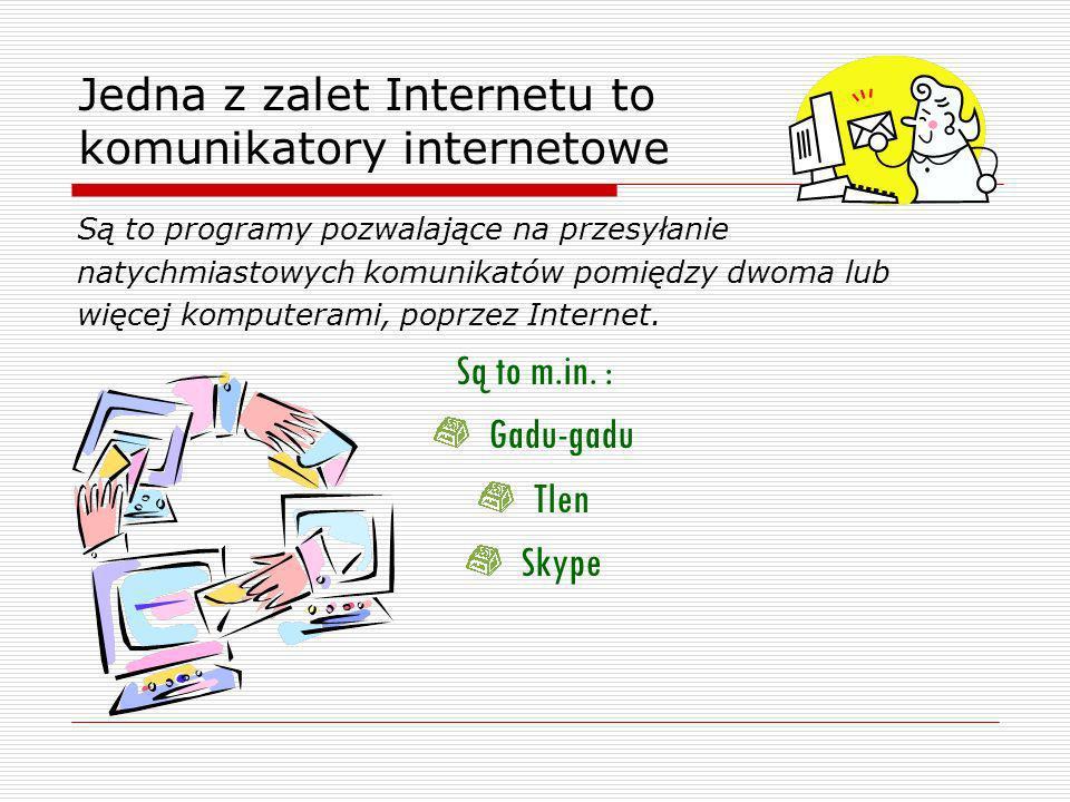 Jedna z zalet Internetu to komunikatory internetowe