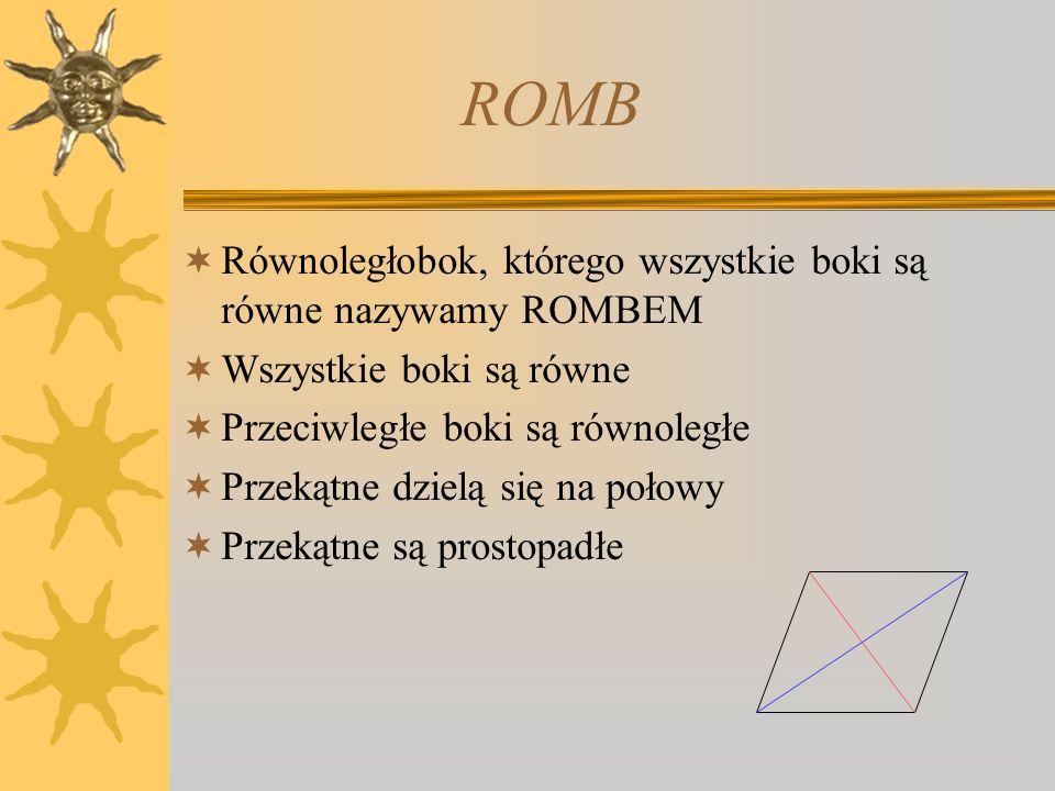 ROMB Równoległobok, którego wszystkie boki są równe nazywamy ROMBEM
