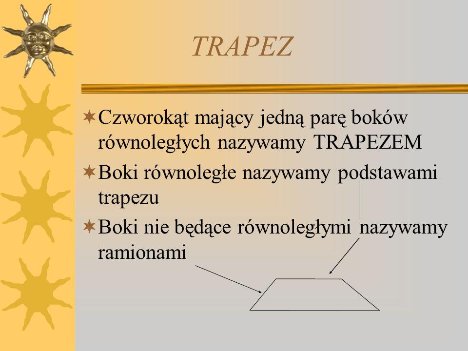 TRAPEZ Czworokąt mający jedną parę boków równoległych nazywamy TRAPEZEM. Boki równoległe nazywamy podstawami trapezu.