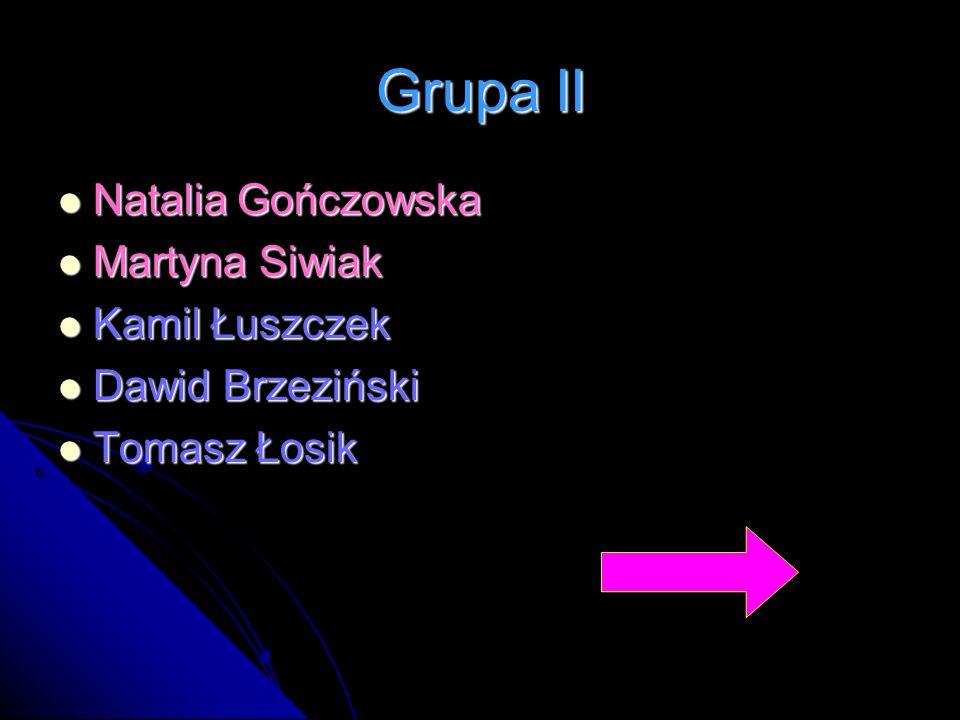 Grupa II Natalia Gończowska Martyna Siwiak Kamil Łuszczek