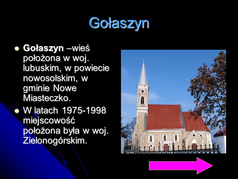 Gołaszyn Gołaszyn –wieś położona w woj. lubuskim, w powiecie nowosolskim, w gminie Nowe Miasteczko.