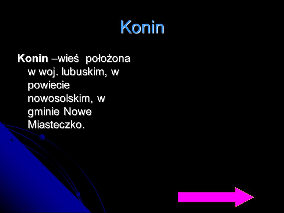 Konin Konin –wieś położona w woj. lubuskim, w powiecie nowosolskim, w gminie Nowe Miasteczko.