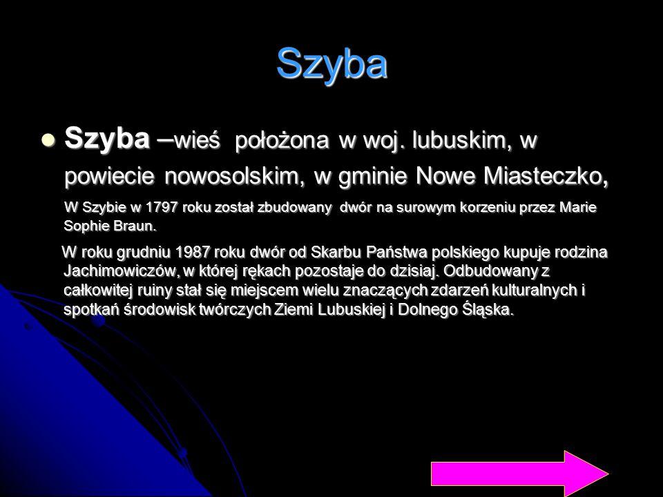 Szyba Szyba –wieś położona w woj. lubuskim, w powiecie nowosolskim, w gminie Nowe Miasteczko,