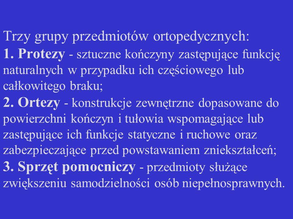 Trzy grupy przedmiotów ortopedycznych: 1