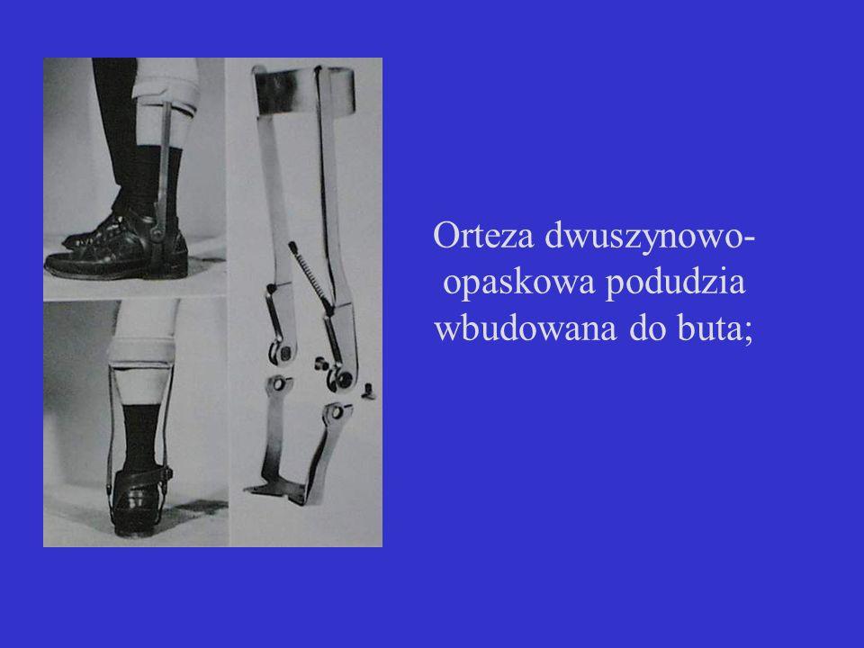 Orteza dwuszynowo-opaskowa podudzia wbudowana do buta;