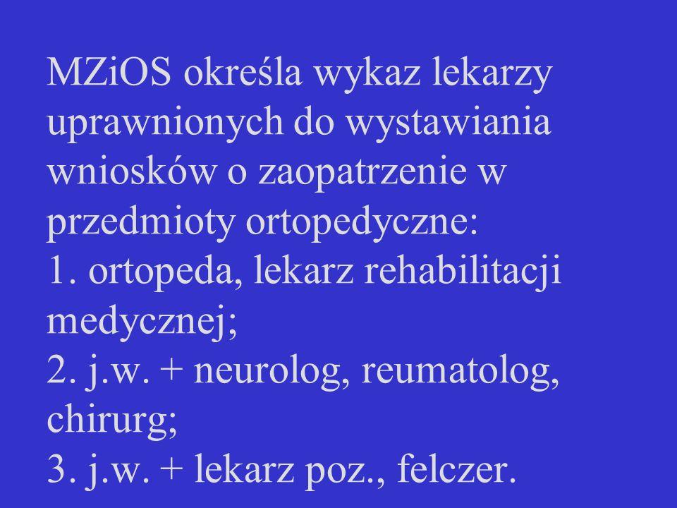 MZiOS określa wykaz lekarzy uprawnionych do wystawiania wniosków o zaopatrzenie w przedmioty ortopedyczne: 1.