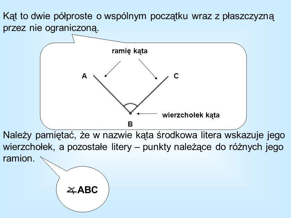 Kąt to dwie półproste o wspólnym początku wraz z płaszczyzną przez nie ograniczoną.